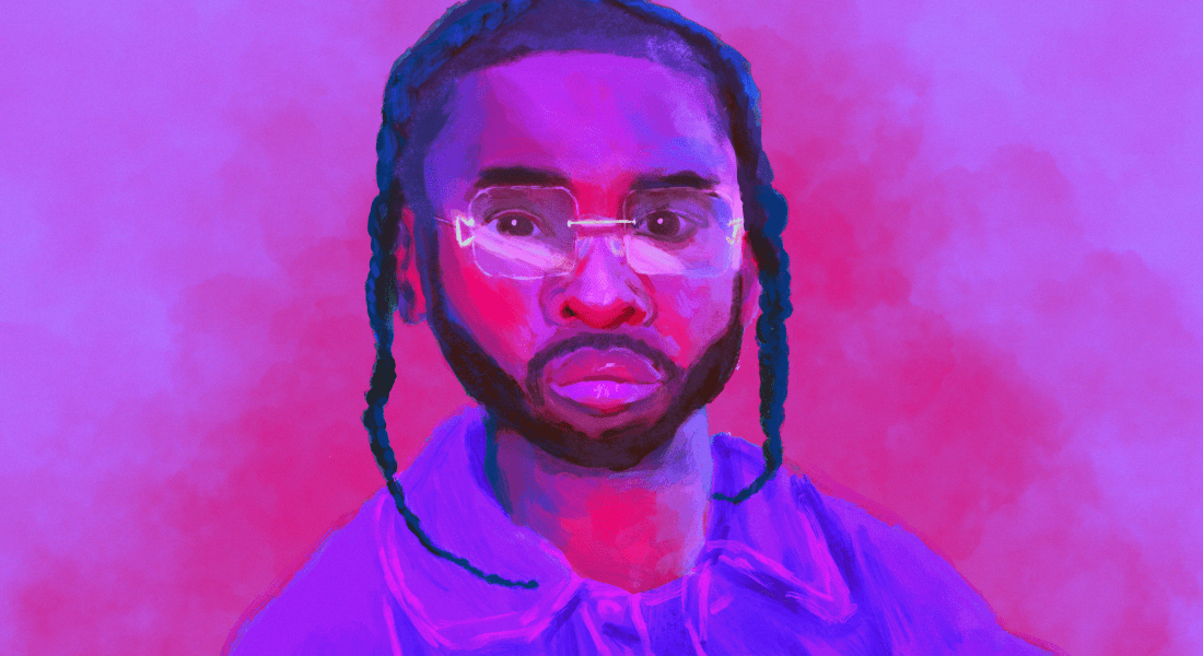 A portrait of the late rapper Pop Smoke against a pink background.