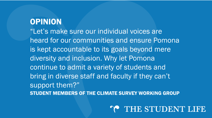 """Let's make sure our individual voices are heard for our communities and ensure Pomona is kept accountable to its goals beyond mere diversity and inclusion. Why let Pomona continue to admit a variety of students and bring in diverse staff and faculty if they can't support them?"" — Student Members of the Climate Survey Working Group"