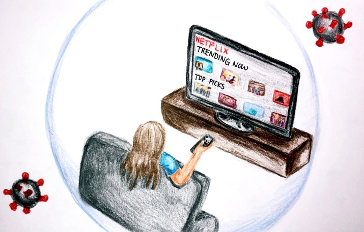 A colored pencil illustration of someone sitting on a couch, pointing a remote at a flat-screen TV, on the Netflix home page. The couch, person and TV are surrounded by a bubble, with two large viruses swarming around them.
