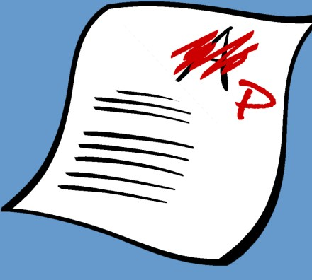 A drawing of a graded paper. The 'A' the paper was originally awarded has been scratched out in red and replaced with a 'P.'