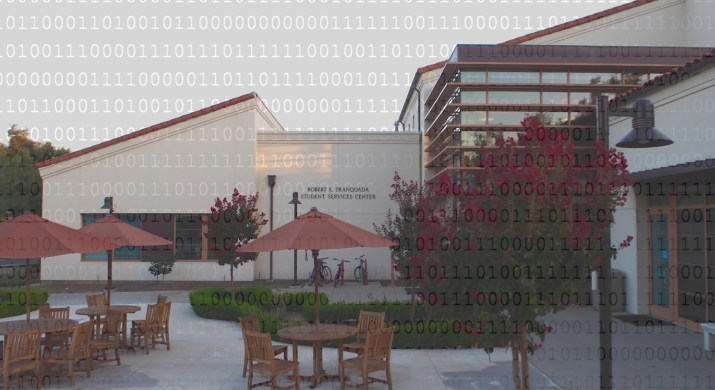 A photo of a white building overlaid with ones and zeros