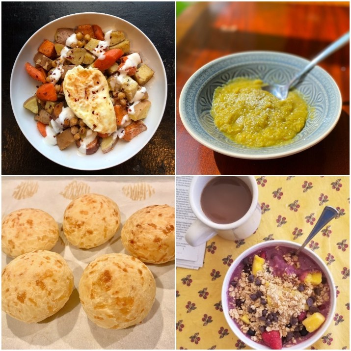 A photo collage features four dishes: roasted root vegetables and chickpeas with yogurt dressing, matzo brei, baked cheese bread rolls, and a smoothie bowl with granola, pineapple, and a cup of coffee aside it.