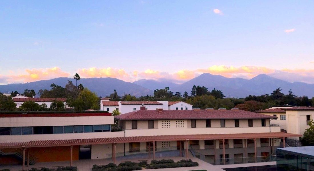 central Claremont Mckenna College at sunset from above.