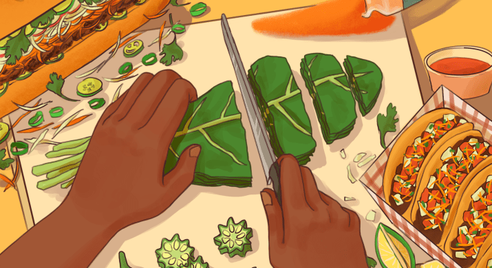 An illustration of a pair of dark-skinned hands cutting leafy greens on a cutting board. Next to the cutting board is Bánh mì, turmeric, and tacos.