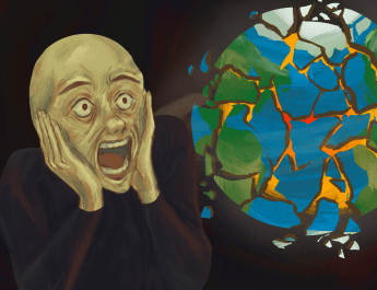 A drawing of a screaming person as they watch the world explode.