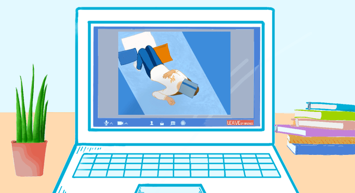 An illustration of a laptop on a desk with a plant. The laptop is displaying zoom with a person lying down with a book on their head.