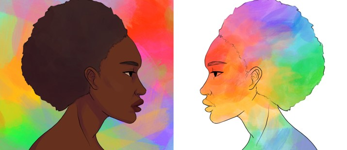 An illustration of an African American woman against an abstract rainbow background, and a profile of a person who is colored in rainbow hues and is juxtaposed against a white background.