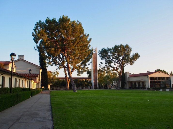 A large grass lawn with a few tall trees is flanked by cream college buildings with red tile roofs.
