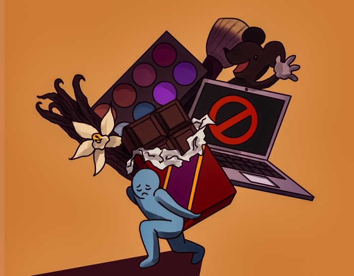 A picture of a person bearing the weight of unethical consumerism.