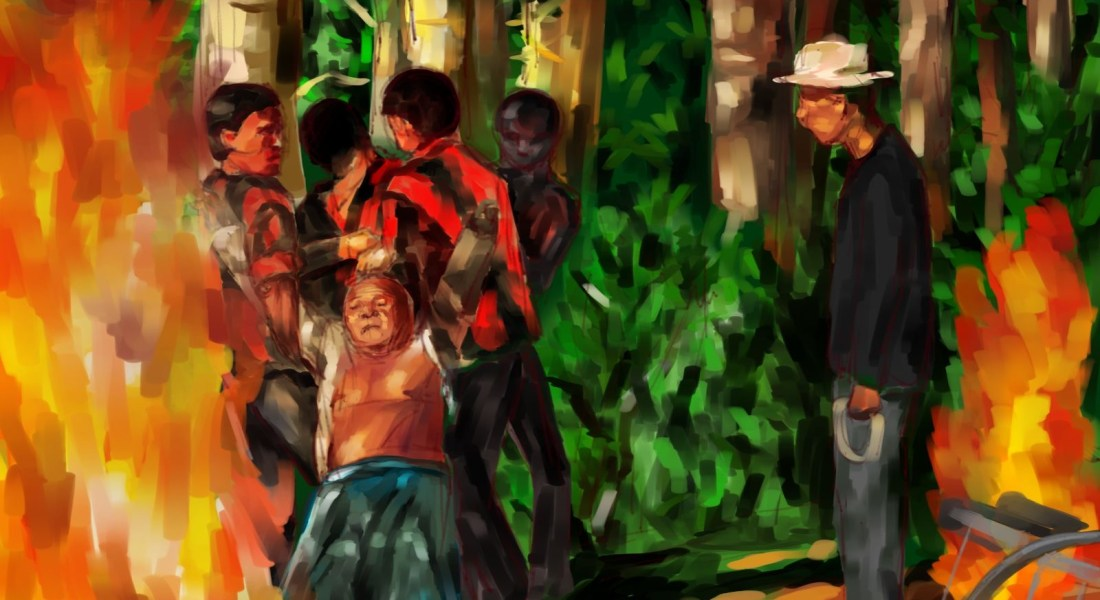 """A drawing of a scene from the movie """"The Act of Killing."""""""