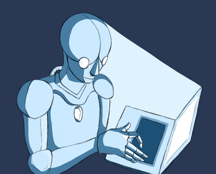 A picture of a text generator robot taking over human jobs.