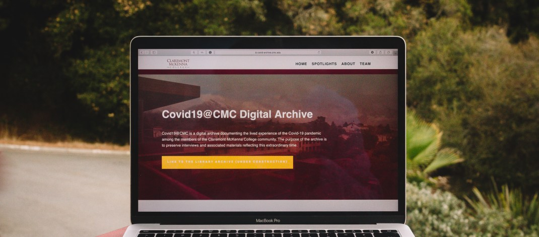 """A laptop open to a website reads """"Covid19@CMC Digital Archive."""""""