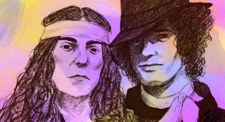 A drawing of Patti Smith and Robert Mapplethorpe exuding coolness.