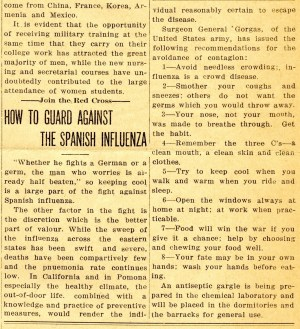 """An article reads """"How to guard against the Spanish Influenza"""""""