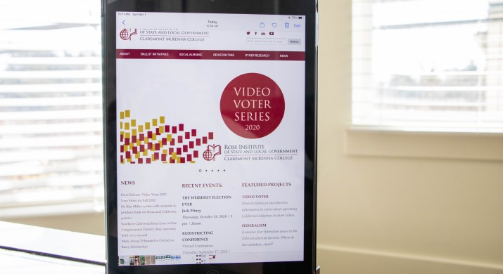 """A website with """"Video Voter Series 2020"""" is on an iPad in front of a window."""