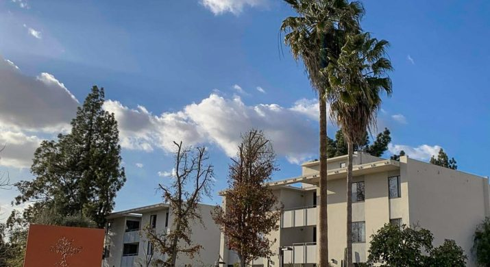 """A photo of palm trees in front of a building with a blue sky. An orange sign in the corner says """"Pitzer College."""""""