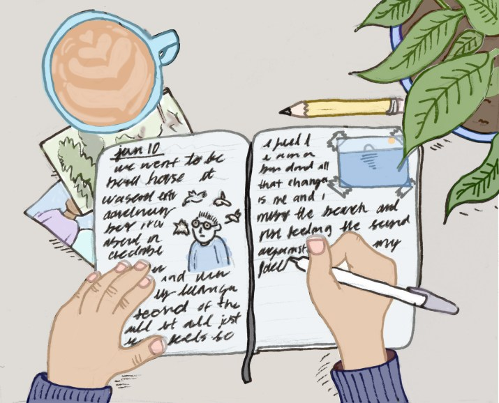 A drawing of a student journaling.