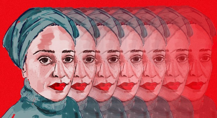 Illustration of Zadie Smith on red background.