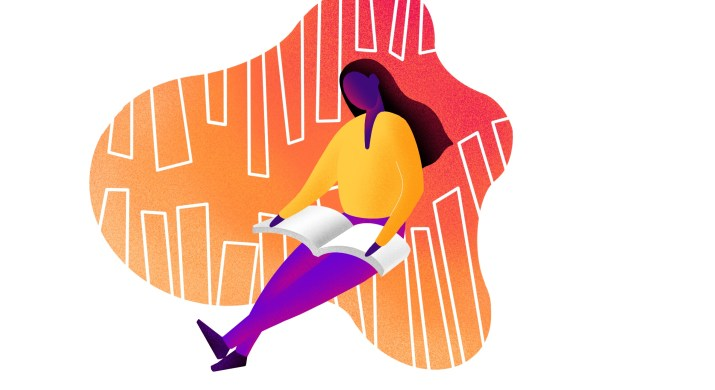 A woman with yellow top and purple pants reading a book