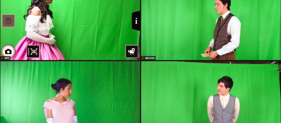Four college student actors rehearse in front of green screens over Zoom.