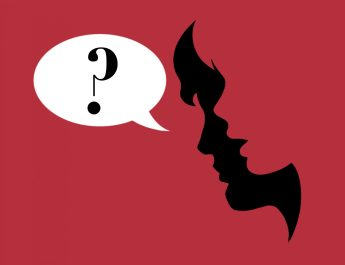 female side profile, mouth open, in front, male behind, mouth closed, speech bubble with a question mark