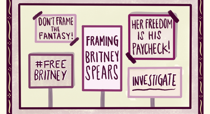 """5 signs stating, """"Don't frame the fantasy!"""", """"#FreeBritney!"""", """"Framing Britney Spears"""", """"Her Freedom is His Paycheck!"""" and """"Investigate"""""""