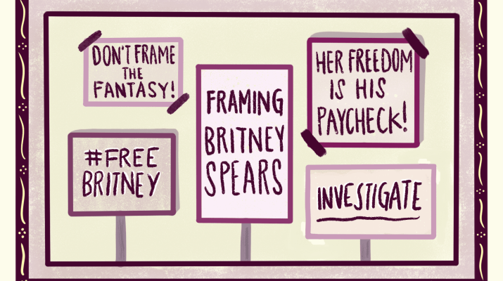 "5 signs stating, ""Don't frame the fantasy!"", ""#FreeBritney!"", ""Framing Britney Spears"", ""Her Freedom is His Paycheck!"" and ""Investigate"""