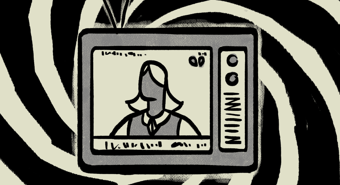A television in front of a black and white swirl pattern