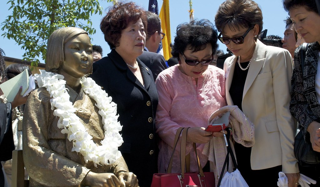 Four surviving comfort women at the unveiling of a statue commemorating the sexual slavery of women by the Japanese army in World War II.