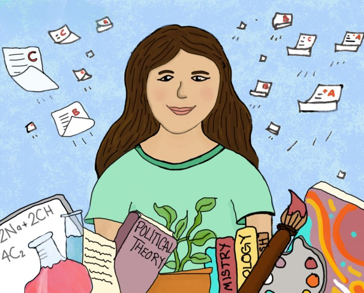 A female student surrounded by books, beakers, plants, and paints.