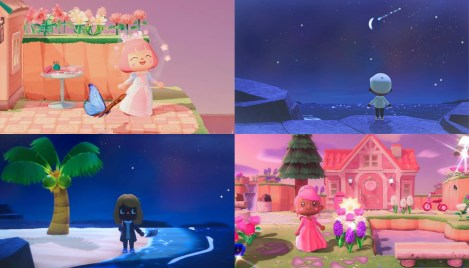 A collage of four screenshots of different Animal Crossing Islands.