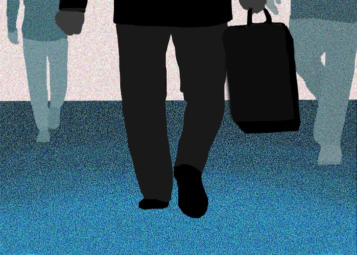 Drawing of a person holding a briefcase walking