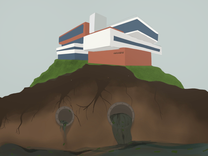 Drawing of the Kravis Center on top of a pipeline and a very polluted environment.