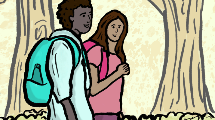 Drawing of two college students walking to class