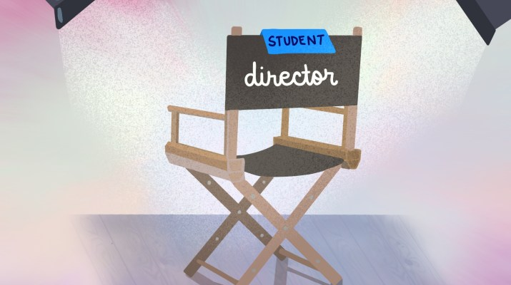 Drawing of a director's chair with the word student placed on top with a piece of paper.