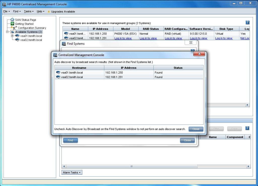 Find the VSA in the Centralized Management Console