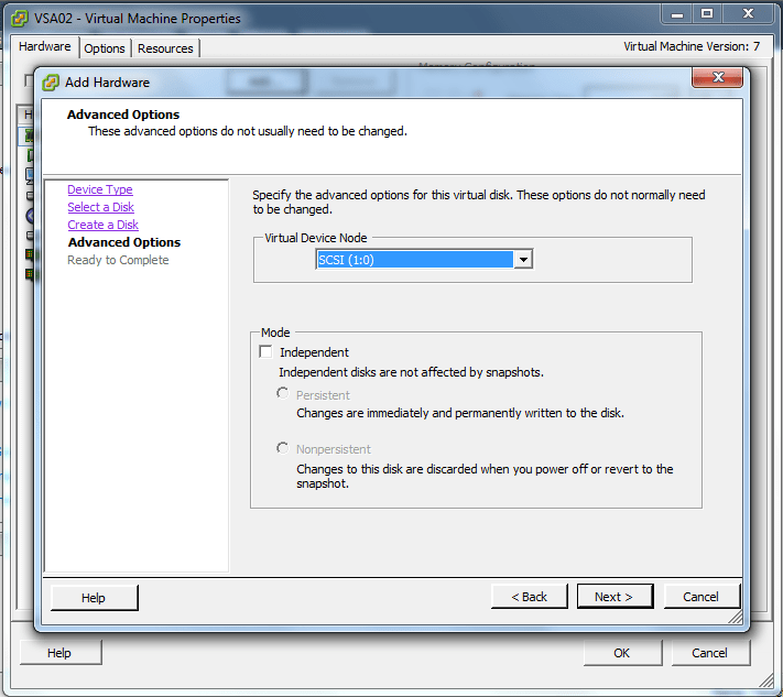 Set the SCSI ID to 1:0, and check Independent, Persistent