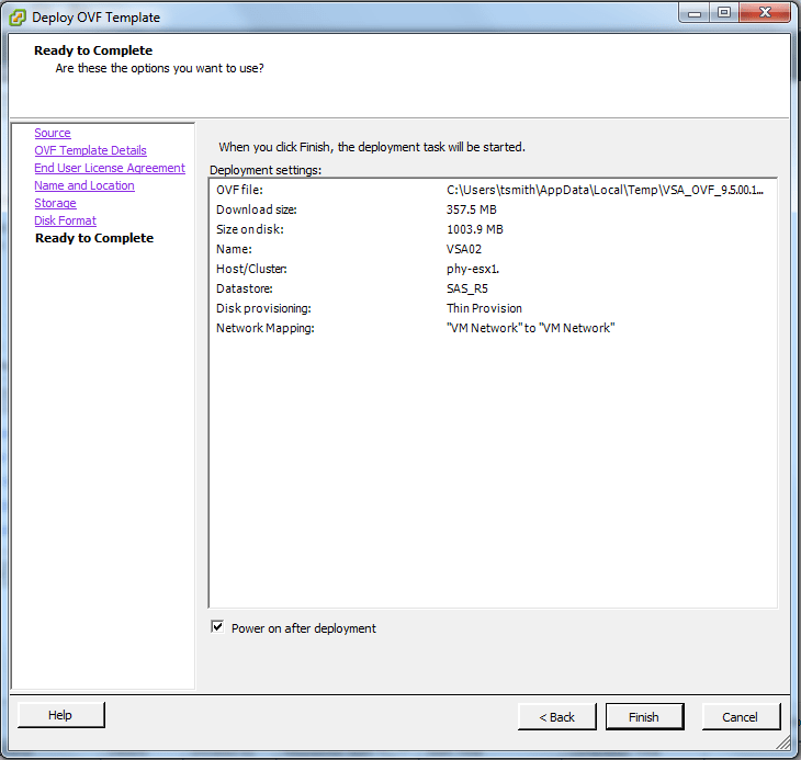 Review settings, and power on after deployment