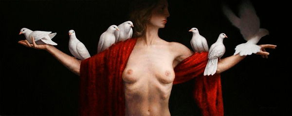 The Crux III painting of a female figure with doves by Steven Kenny, 2013, oil on canvas, 24 x 60 inches