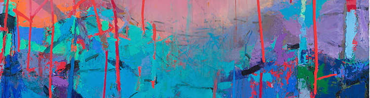 Magnolia, abstract painting in blues and pinks by Brian Rutenberg, header image