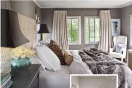grey wall and creamy drapes