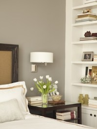 grey wall in classic bedroom