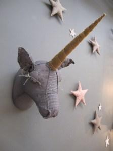 fabric unicorn head