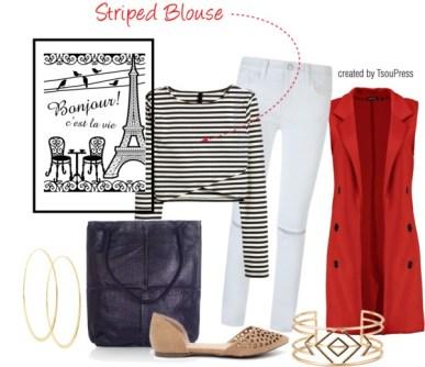 Striped Blouse Tsoupress