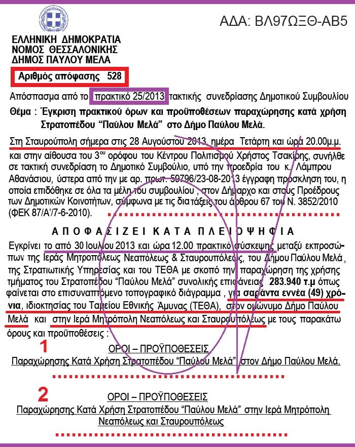 ΔΗΜΟΣ ΠΑΥΛΟΥ ΜΕΛΑ -ΠΑΡΑΧΩΡΗΣΗ ΣΤΡΑΤΟΠΕΔΟΥ ΠΑΥΛΟΥ ΜΕΛΑ