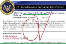 Η Επιτροπή Κεφαλαιαγοράς (SEC) των ΗΠΑ, κατηγορεί δημόσια την εταιρεία «Smith & Nephew PLC», για δωροδοκία «Ξένων Αξιωματούχων» — Ελλήνων ορθοπεδικών γιατρών