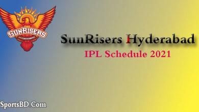 SRH IPL Match Schedule 2021