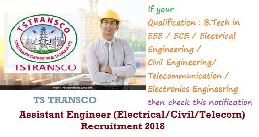TSTRANSCO AE Recruitment 2018 Electrical Civil Telecom