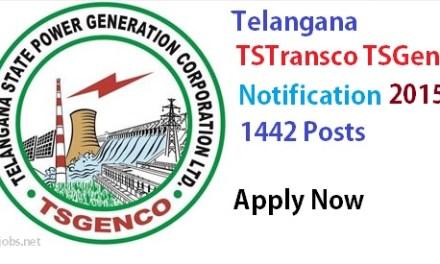 Telangana TSGENCO, TSTRANSCO Notification Recruitment 2017- Apply Online