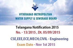Telangana Hyderabad Metropolitan Water Supply Board Notification 2015